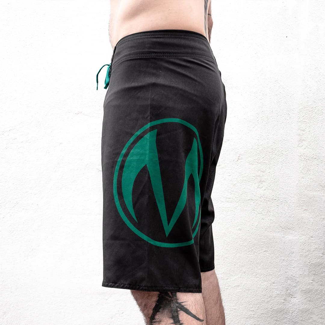moody side logo beach shorts